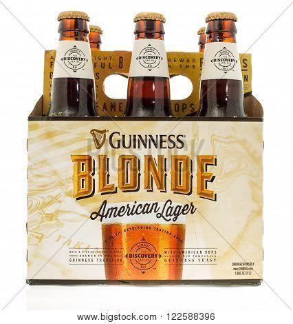 Winneconne WI -3 Nov 2015: Six pack of Guinness Blonde beer.