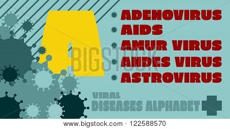 Viral diseases alphabet. Medical research theme. Diseases list. Virus epidemic relative illustration. Viruses icons on background. Letter A