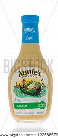 Winneconne WI - 25 Feb 2016: Bottle of Annie;s naturals salad dressing in Italian flavor