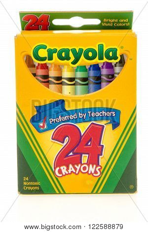 Winneconne WI -27 Oct 2015: Box of Crayola crayons.