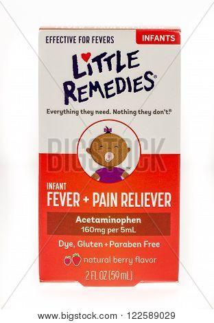 Winneconne, WI -15 Oct 2015: Box of Little Remedies fever and pain reliever for infants.
