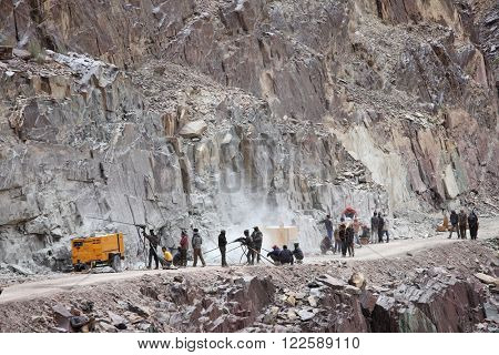 SRINAGAR, LEH ROAD, INDIA - JUNE 11, 2015: Preparation for explosive works on construction of Srinagar  Leh road in the Himalayas in Jammu & Kashmir, India