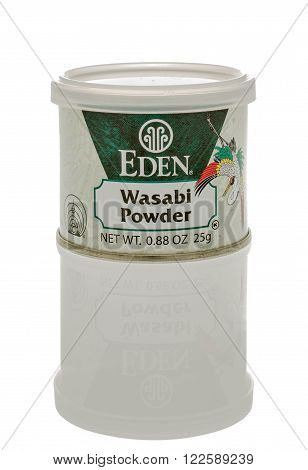 Winneconne WI - 18 Nov 2015: Container of wasabi powder made by Eden.
