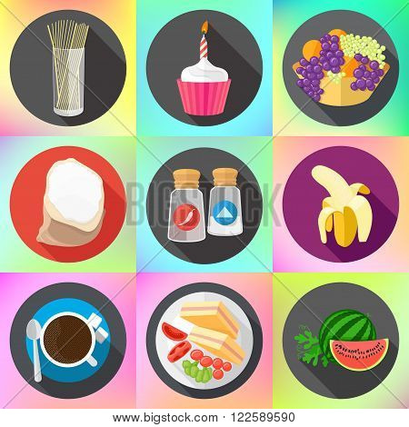 Set of colorful cartoon restaurant food, ingredients and fruits icons. Isolated vector. Set of flat design icons for food and drink.