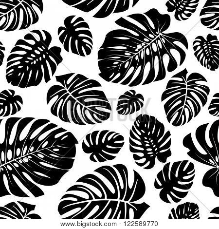 Seamless pattern made from the Monstera leaves