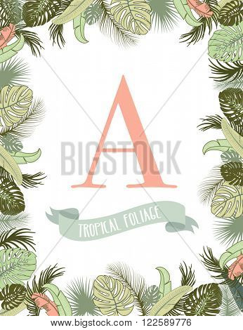 Tropical foliage frame template