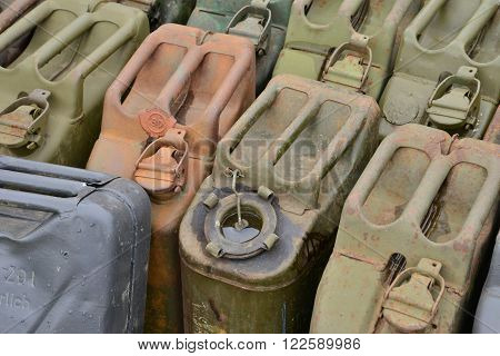 Verneuil sur Seine France - september 12 2015 : german jerrycan of the second world war in air show of Verneuil sur Seine