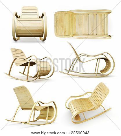 Set the rocking chair isolated on white background. 3d rendering.