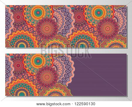 Oriental Flayer template design. Abstract Retro Ornate Mandala Background for greeting card Brochure Card or Invitation with Arabic Indian Ottoman Asian motifs. Flyer artwork design