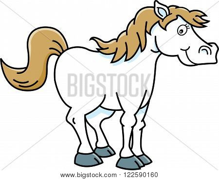 Cartoon illustration of a smiling happy horse.
