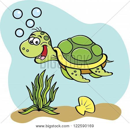 Cartoon illustration of a sea turtle swimming underwater.