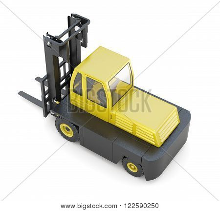 Modern forklift isolated on white background. 3d render image.