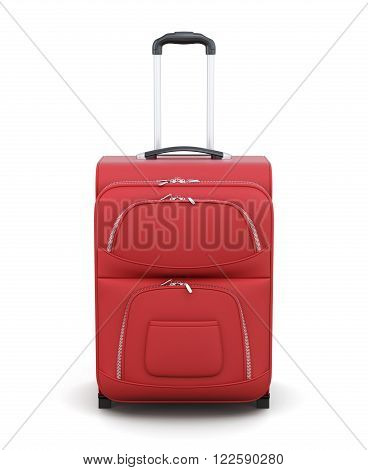 Red suitcase on wheels isolated on white background. Front view. With a retractable handle. 3d rendering.