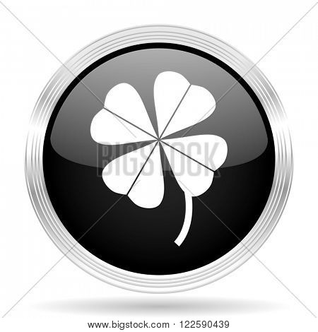 four-leaf clover black metallic modern web design glossy circle icon