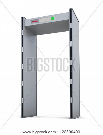Metal detector door isolated on white background. 3d rendering.