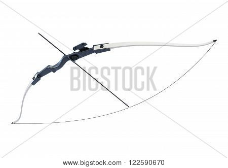 Bow with a tight bowstring isolated on white background. 3d render image.