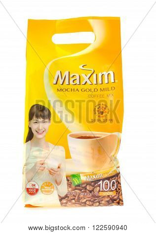 Winneconne WI - 21 Nov 2015: A bag of Maxim coffee with individual packs from South Korea.