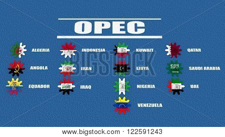 OPEC members list. Oil pump icons on cog wheels