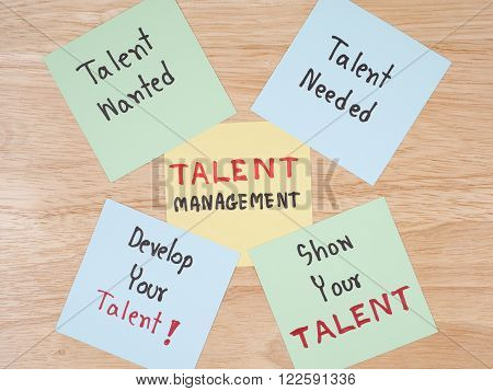 Handwriting Talent Management Talent Needed Talent Wanted develop your talent show your talent on colorful note paper with wood background.