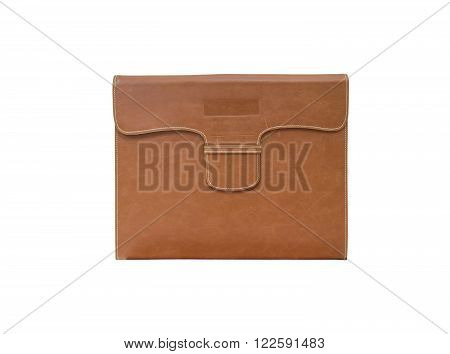 Brown bag for document paper isolated on white background