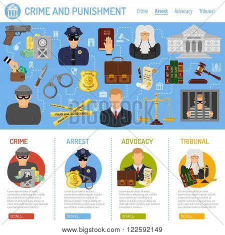 Crime and Punishment Vector Concept with Flat Icons for Flyer, Poster, Web Site, Advertising Like Thief, Policeman, Lawyer, Judge, Handcuffs and Court House.