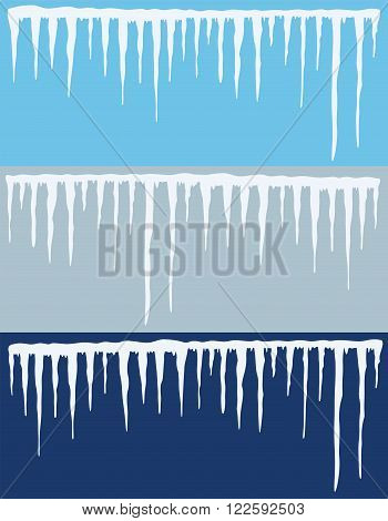 vector collection of blue winter icicles backgrounds