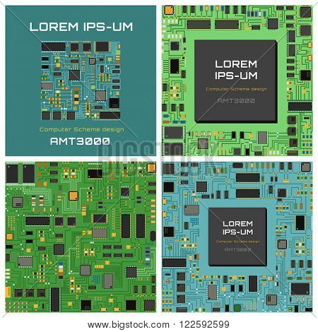 Computer chip technology processor circuit and computer motherboard information system chip vector. Computer chip electronic circuit board with processor flat vector illustration set.
