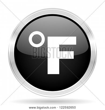 fahrenheit black metallic modern web design glossy circle icon