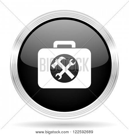 toolkit black metallic modern web design glossy circle icon
