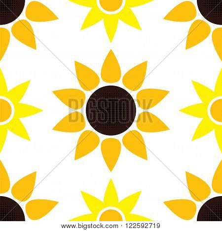 vector abstract background with  seamless  sunflower pattern