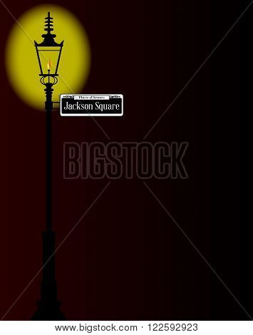 Jackson Square street sign of French Market with old gas street light over a dark background