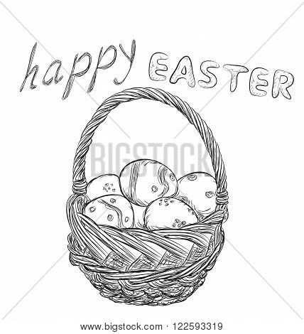 Basket of Easter eggs outline. Hand drawn willow basket