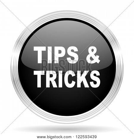 tips tricks black metallic modern web design glossy circle icon