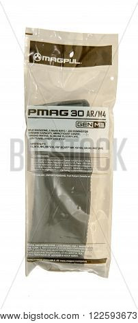 Winneconne WI - 10 Jan 2016: Package of a Magpul magazine for AR rifles.