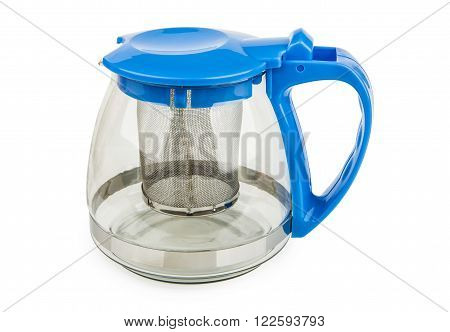 Transparent glass teapot with metal strainer isolated on white background