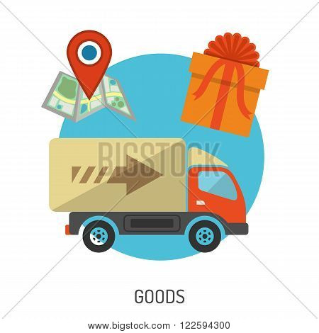 Delivery Goods Flat Icons for e-commerce with Truck, Map and Gift. Vector isolated on white.