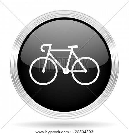 bicycle black metallic modern web design glossy circle icon