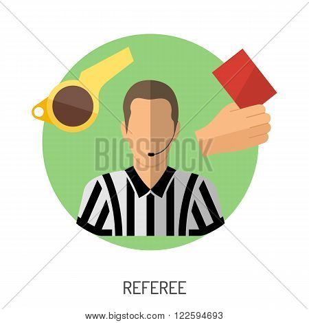 Soccer and Football Flat Icon Set for Flyer, Poster, Web Site like Referee, Whistle and Red Card.
