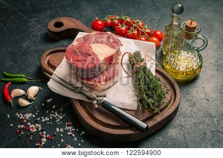 Raw Veal Shank Slices Meat