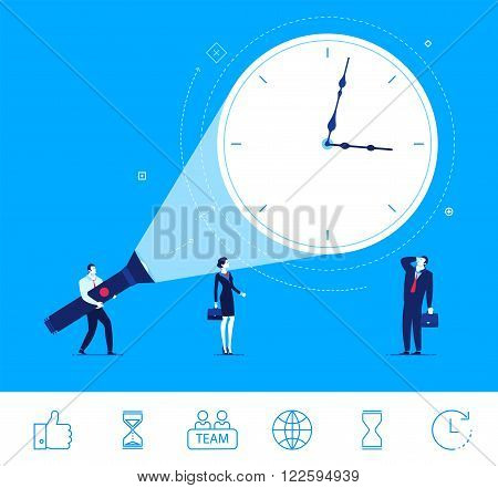 Flat design vector concept illustration. good time for business. deadline approaching.  businessman and businesswoman looking at  clock.  Vector clipart. Icons set.