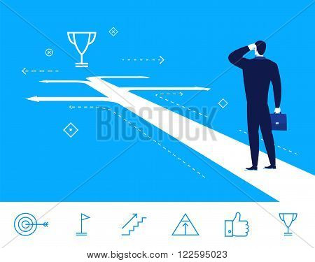 Flat design vector concept illustration. businessman making the right choice.  Good profit. Vector clipart. Icons set.