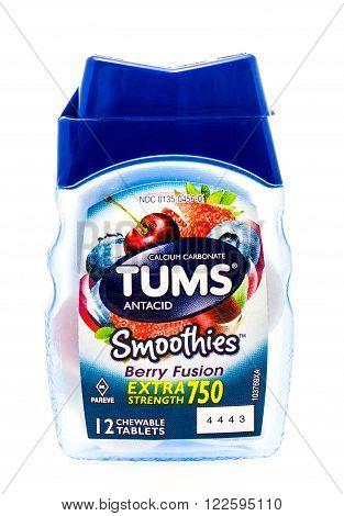 Winneconne WI -25 Sept 2015: Bottle of Tums anti acid indigestion medicine.
