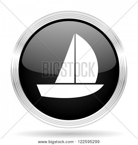 yacht black metallic modern web design glossy circle icon