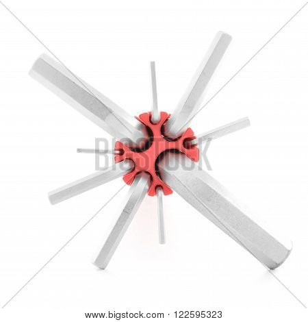Allen key, chrome tool for screw, isolated, on white background