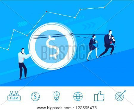 Flat design vector concept illustration. Teamwork. Profitable investment.  Choose the right path. Vector clipart. Icons set.