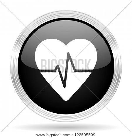 pulse black metallic modern web design glossy circle icon