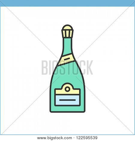 Champagne bottle vector icon. Linear style
