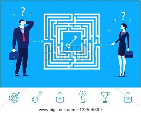 Flat design vector concept illustration. Teamwork. Businessman and businesswoman thinking how to pass the maze and get the key. Choose the right path. Vector clipart. Icons set.