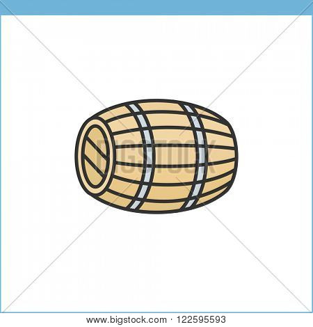 Wood wine cask vector icon. Linear style