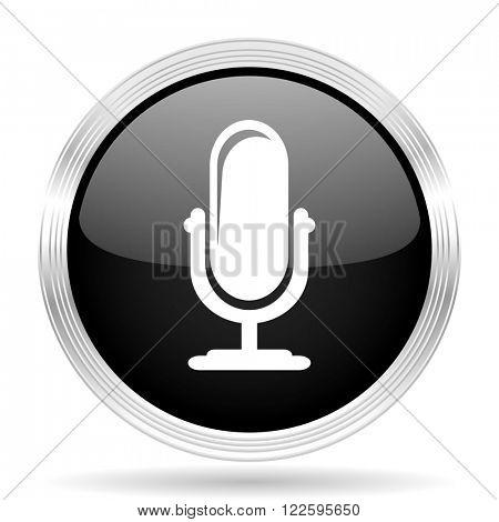 microphone black metallic modern web design glossy circle icon